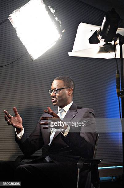 Tidjane Thiam chief executive officer of Credit Suisse Group AG gestures as he speaks during a Bloomberg Television interview at the bank's...