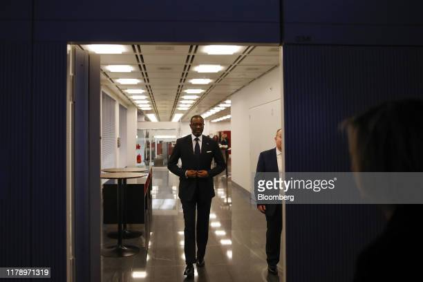 Tidjane Thiam chief executive officer of Credit Suisse Group AG arrives for a Bloomberg Television interview in Zurich Switzerland on Wednesday Oct...