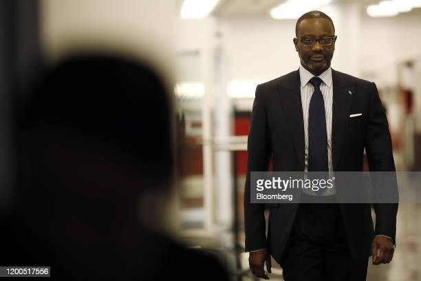 Tidjane Thiam chief executive officer of Credit Suisse Group AG arrives for a Bloomberg Television interview in Zurich Switzerland on Thursday Feb 13...
