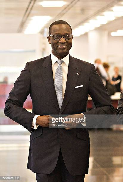 Tidjane Thiam chief executive officer of Credit Suisse Group AG arrives for a Bloomberg Television interview at the bank's headquarters ahead of a...