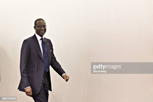 Tidjane Thiam chief executive officer of Credit Suisse Group AG arrives for a news conference at the bank's headquarters to announce their third...