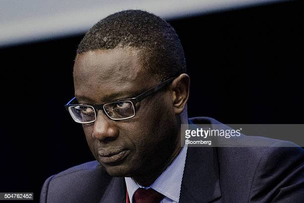 Tidjane Thiam chief executive officer of Credit Suisse Group AG looks on during a Banque de France symposium in Paris France on Tuesday Jan 12 2016...