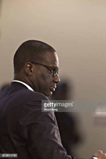 Tidjane Thiam chief executive officer of Credit Suisse Group AG looks on during a news conference to announce the bank's second quarter profit in...