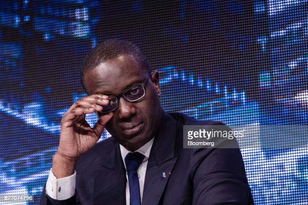 Tidjane Thiam chief executive officer of Credit Suisse Group AG looks on at the Rendezvous de Bercy economic debate at the French Ministry of Economy...