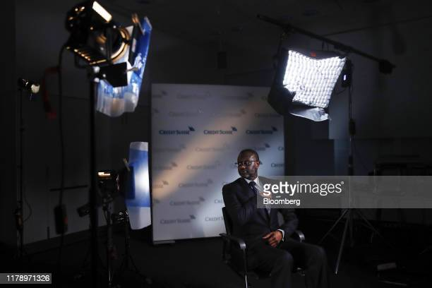Tidjane Thiam chief executive officer of Credit Suisse Group AG pauses ahead of a Bloomberg Television interview in Zurich Switzerland on Wednesday...