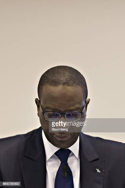 Tidjane Thiam chief executive officer of Credit Suisse Group AG pauses during news conference at the bank's headquarters to announce their third...