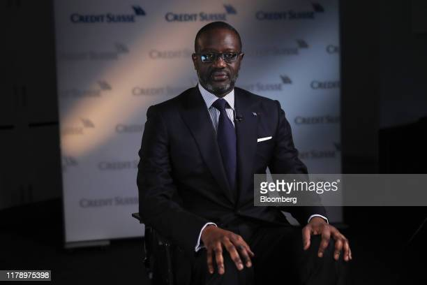 Tidjane Thiam chief executive officer of Credit Suisse Group AG poses for a photograph ahead of a Bloomberg Television interview in Zurich...