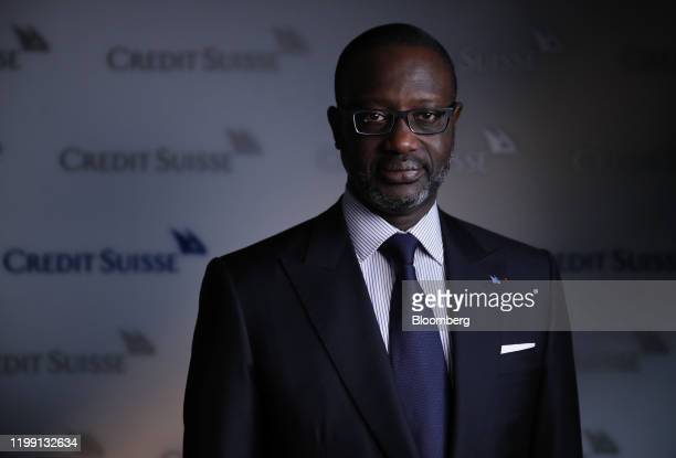 Tidjane Thiam chief executive officer of Credit Suisse Group AG poses for a photograph following a Bloomberg Television interview in Zurich...