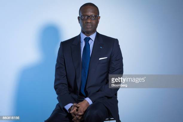 Tidjane Thiam chief executive officer of Credit Suisse Group AG poses for a photograph following a Bloomberg Television interview in London UK on...