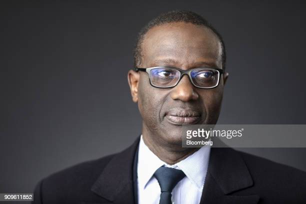 Tidjane Thiam chief executive officer of Credit Suisse Group AG poses for a photograph following a Bloomberg Television interview on day two of the...