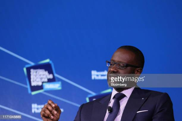 Tidjane Thiam chief executive officer of Credit Suisse Group AG speaks during the Bloomberg Global Business Forum in New York US on Wednesday Sept 25...
