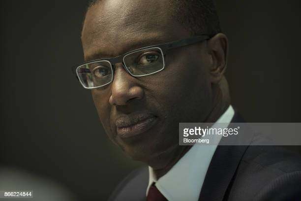 Tidjane Thiam chief executive officer of Prudential Plc pauses during a Bloomberg Television interview on the 'Leaders Lunch' show in London UK on...
