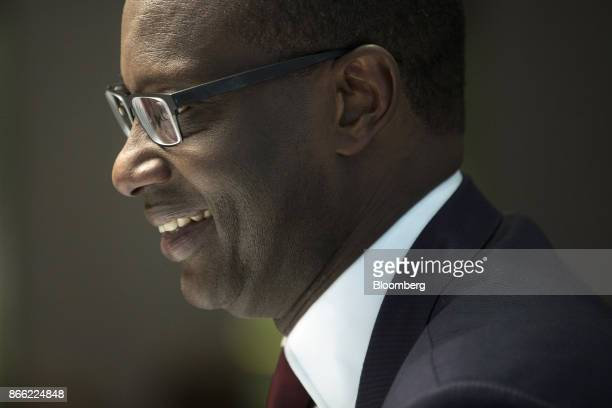 Tidjane Thiam chief executive officer of Prudential Plc reacts during a Bloomberg Television interview on the 'Leaders Lunch' show in London UK on...