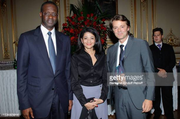 Tidjane Thiam Jeanette Bougrab Francois Baroin at Cercle Interallie on October 5 2012 in Paris France