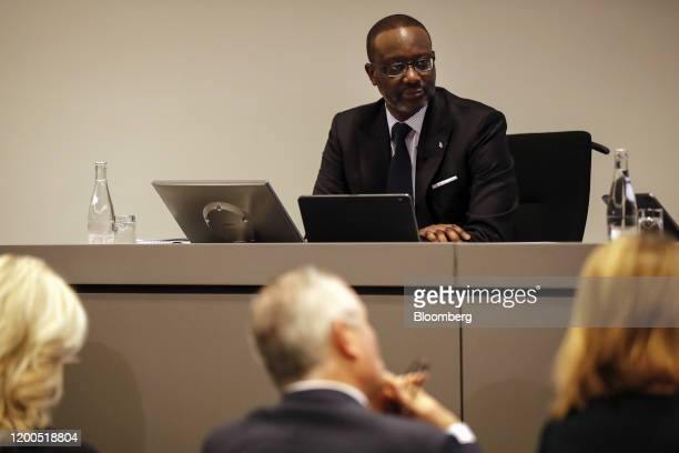 Tidjane Thiam outgoing chief executive officer of Credit Suisse Group AG pauses during a news conference to present the company's fullyear earnings...