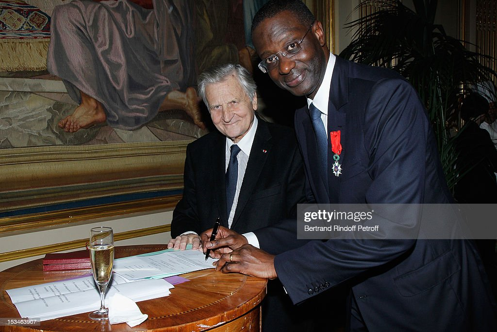 Tidjane Thiam President of the ABE and former politician Chief Executive of Prudential and Jean Claude Trichet former President of the BCE at Cercle Interallie on October 5, 2012 in Paris, France.