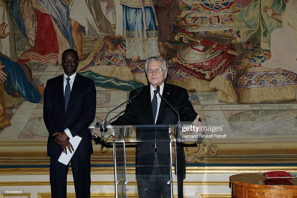 Tidjane Thiam President of the ABE and former politician Chief Executive of Prudential receives the Legion D'Honneur by Jean Claude Trichet former President of the BCE at Cercle Interallie on October 5, 2012 in Paris, France.