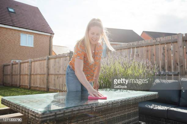 tidying up outdoors - furniture stock pictures, royalty-free photos & images
