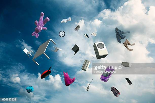 tidying up (home furnishings and wares in the sky) - man made object stock pictures, royalty-free photos & images
