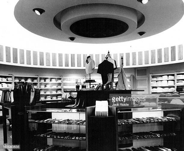 JUL 20 1962 JUL 22 1968 Tie counter shows design motif of new GanoDowns branch Overhead circular designs like this one mark each shop within the...
