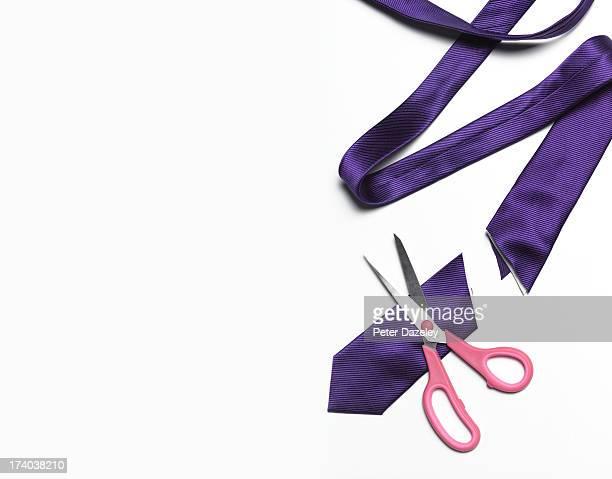 Tie cut in half