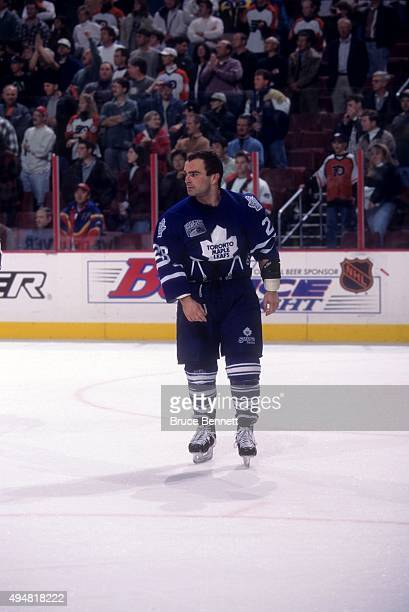 Tie Domi of the Toronto Maple Leafs skates on the ice after a fight during an NHL game against the Philadelphia Flyers on November 10 1996 at the...