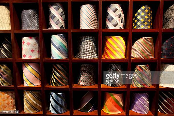 A tie rack at Tony the Tailor's shop in Shanghai China