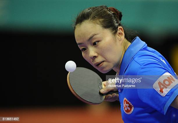 Tie Yana of Hong Kong competes against Cheng I Ching of Chinese Taipei during the 2016 World Table Tennis Championship Women's Team Division...