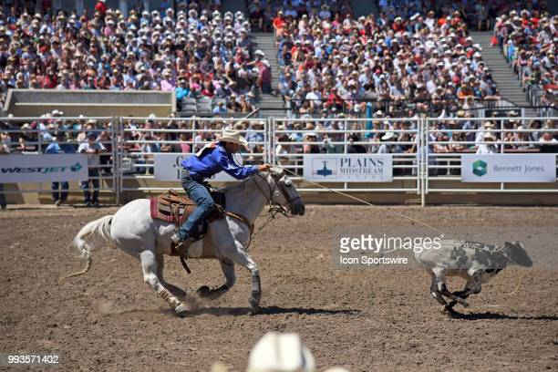 Tiedown roper Logan Bird snags this calf at the Calgary Stampede on July 7 2018 at Stampede Park in Calgary AB