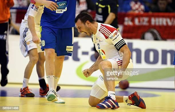 Jerome FERNANDEZ nach dem Sieg Handball Männer Europameisterschaft 2012 in Serbien Hauptrunde : Frankreich - Slowenien 10 th mens european...