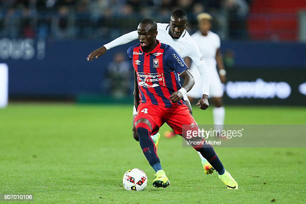 Tiemoko Diomande of Caen during the Ligue 1 match between SM Caen and Paris Saint Germain at Stade Michel D'Ornano on September 16 2016 in Caen France