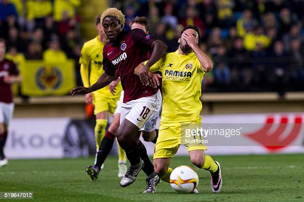 18 Tiemoko Konate of AC Sparta Prague and 11 J Costa del Villarreal CF during UEFA Europa League quarterfinals first leg match between Villarreal CF...
