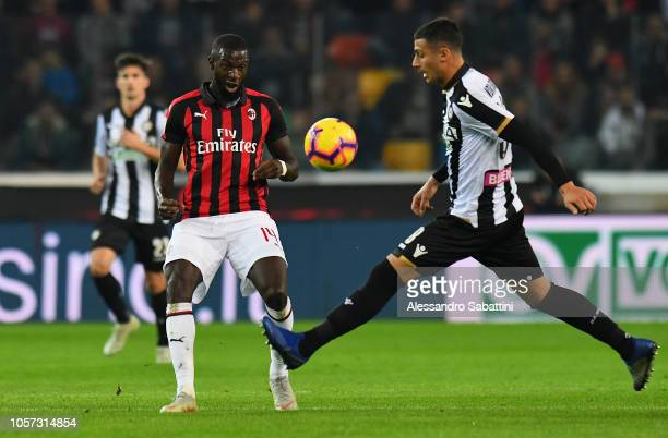 Tiemouè Bakayoko of AC Milan looks at the ball during the Serie A match between Udinese and AC Milan at Stadio Friuli on November 4 2018 in Udine...