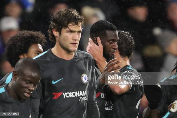 Tiemoué Bakayoko of Chelsea celebrates after scoring a goal to make it 01 during the Premier League match between Huddersfield Town and Chelsea at...