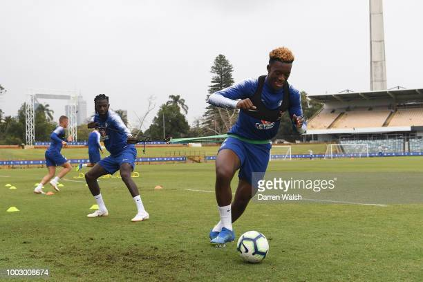 Fikayo Tomori and Ola Aina of Chelsea during a training session on July 21 2018 at the WACA in Perth Australia