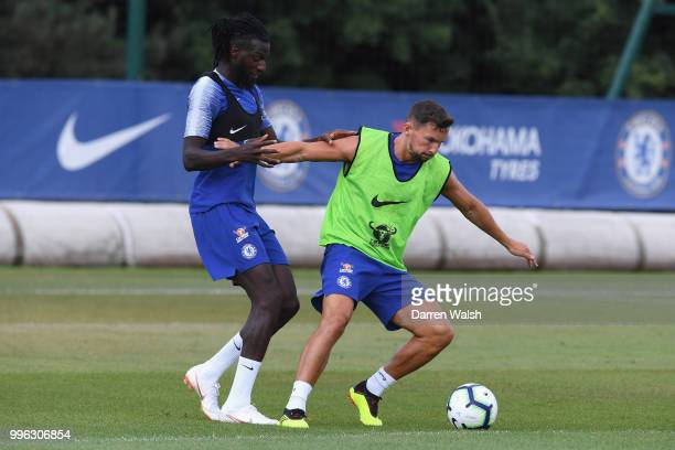 Tiemoue Bakayoko and Danny Drinkwater of Chelsea during a training session at Chelsea Training Ground on July 11 2018 in Cobham England