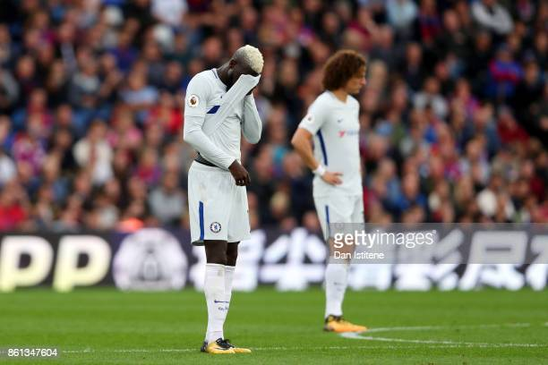 Tiemoue Bakayoko and David Luiz of Chelsea react during the Premier League match between Crystal Palace and Chelsea at Selhurst Park on October 14...