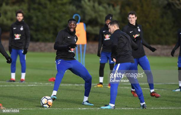 Tiemoue Bakayoko and Eden Hazard of Chelsea during a training session at Chelsea Training Ground on January 16 2018 in Cobham England