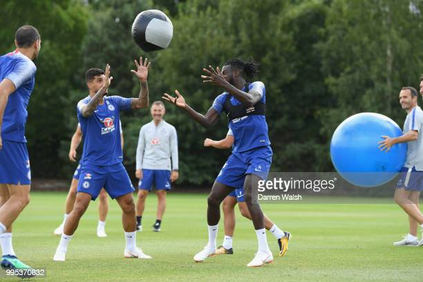 Tiemoue Bakayoko and Emerson of Chelsea during a training session at Chelsea Training Ground on July 10 2018 in Cobham England