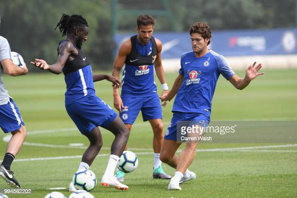Tiemoue Bakayoko and Marcos Alonso of Chelsea during a training session at Chelsea Training Ground on July 9 2018 in Cobham England