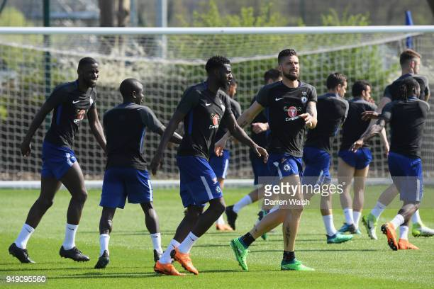 Tiemoue Bakayoko and Olivier Giroud of Chelsea during a training session at Chelsea Training Ground on April 20 2018 in Cobham England