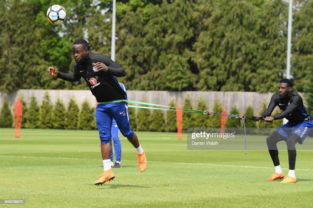 Tiemoue Bakayoko and Victor Moses of Chelsea during a Strength and Conditioning training session at Chelsea Training Ground on May 16, 2018 in Cobham, England.