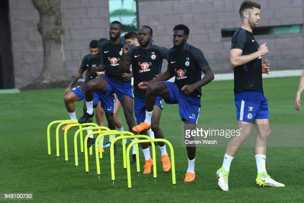 Tiemoue Bakayoko and Victor Moses of Chelsea during a training session at Chelsea Training Ground on April 20 2018 in Cobham England