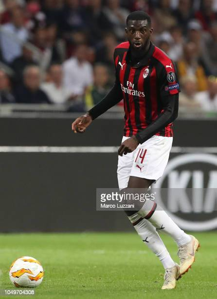 Tiemoue Bakayoko of AC Milan in action during the UEFA Europa League Group F match between AC Milan and Olympiacos at Stadio Giuseppe Meazza on...