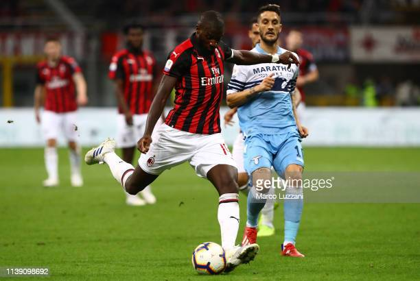 Tiemoue Bakayoko of AC Milan kicks a ball during the TIM Cup match between AC Milan and SS Lazio at Stadio Giuseppe Meazza on April 24, 2019 in...