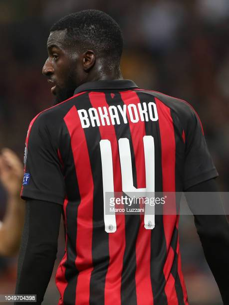 Tiemoue Bakayoko of AC Milan looks on during the UEFA Europa League Group F match between AC Milan and Olympiacos at Stadio Giuseppe Meazza on...