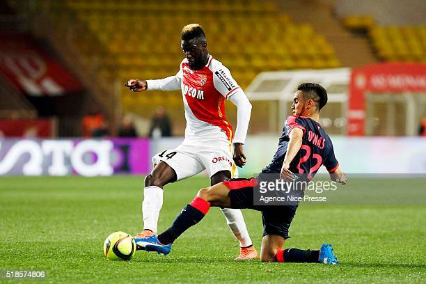 Tiemoue BAKAYOKO of AS Monaco and Adam Ounas of FCG Bordeaux during the French Ligue 1 match between As Monaco and Girondins de Bordeaux at Louis II...