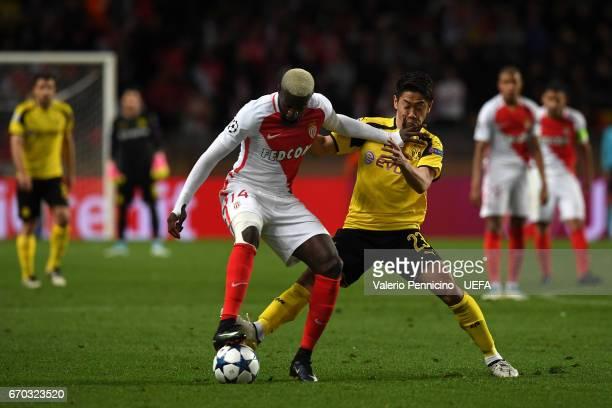 Tiemoue Bakayoko of AS Monaco competes with Shinji Kagawa of Borussia Dortmund during the UEFA Champions League Quarter Final second leg match...