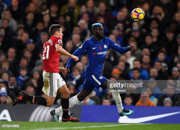 Tiemoue Bakayoko of Chelsea and Ander Herrera of Manchester United battle for possession during the Premier League match between Chelsea and...