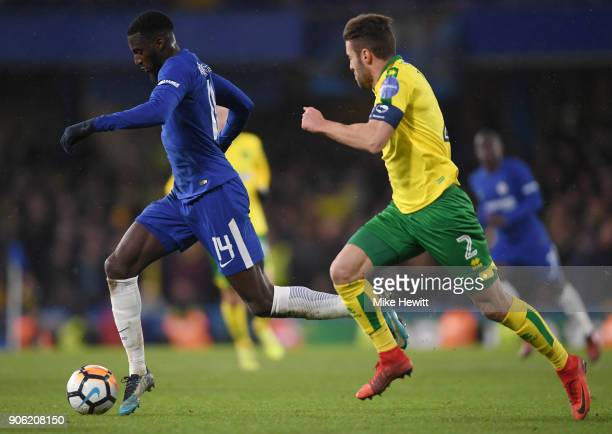 Tiemoue Bakayoko of Chelsea and Ivo Pinto of Norwich City in action during The Emirates FA Cup Third Round Replay between Chelsea and Norwich City at...